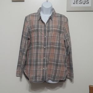 Madewell button down flannel gray/pink size M